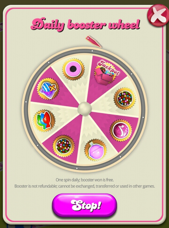 Daily Booster Wheel prizes in Candy Crush differ on Facebook and iOS