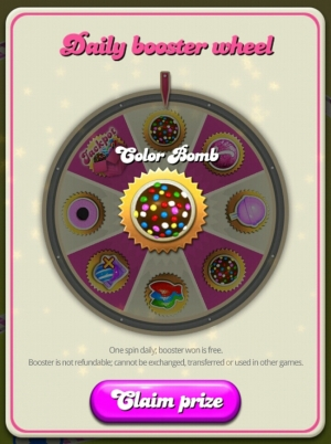 Candy Crush boosters won from Daily Booster Wheel - Candy Crush